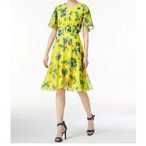 Calvin Klein Floral Chiffon Dress